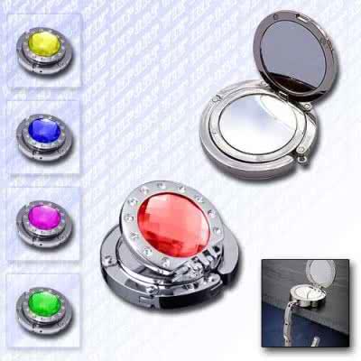Accroche sac métallique rond pliable cristal et miroir