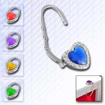 Accroche sac métallique design cœur pliable avec cristal et miroir