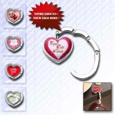 Accroche sac pliable au format coeur cœur